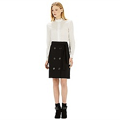Warehouse - Belted button front skirt