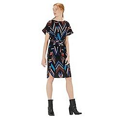 Warehouse - Chevron stripe belted dress