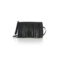 Warehouse - Leather suede fringed clutch