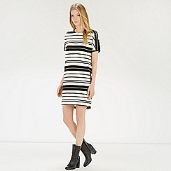 Warehouse - Textured rib stripe dress