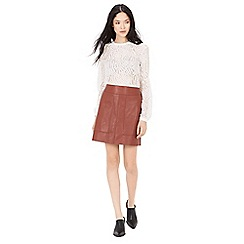 Warehouse - Panelled faux leather skirt