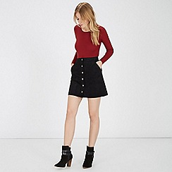 Warehouse - Suedette button through skirt