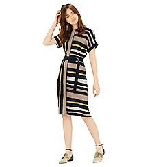 Warehouse - Stripe belted dress