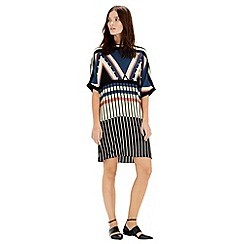 Warehouse - Stripe seamed dress