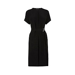 Warehouse - Dropped shoulder belted dress