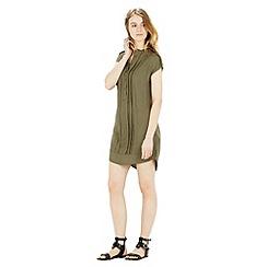 Warehouse - Collarless Pintuck Dress