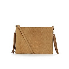 Warehouse - Suede embossed croc cross body