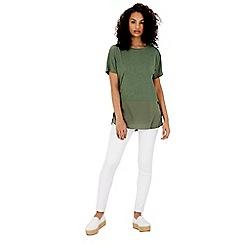 Warehouse - Woven mix short sleeved top