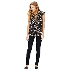 Warehouse - Leafy ditsy woven front top