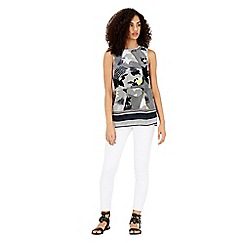 Warehouse - Palm print tunic shell top