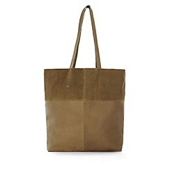 Warehouse - Leather Panelled Shopper