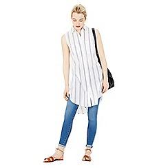 Warehouse - Sleeveless stripe voile shirt