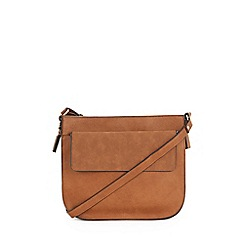 Warehouse - Large Tan Saddle Crossbody Bag