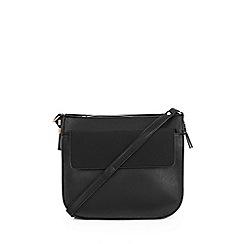 Warehouse - Large Black Saddle Crossbody Bag
