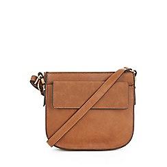 Warehouse - Small Tan Saddle Crossbody Bag