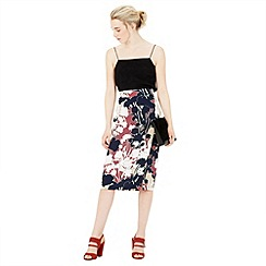 Warehouse - Floral print wrap detail skirt