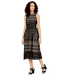 Warehouse - Zig zag lace midi dress