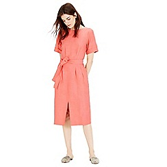 Warehouse - Linen Mix Belted Dress