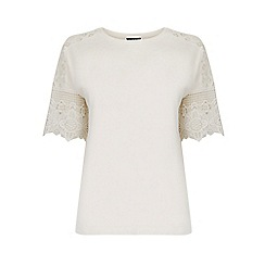 Warehouse - Cotton Lace Sleeve Tee