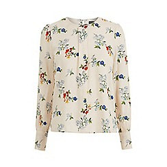 Warehouse - Spaced Floral Puff Sleeve Top