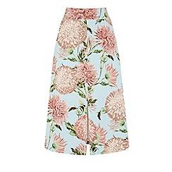 Warehouse - Pom Pom Print Floral Skirt
