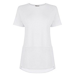 Warehouse - Woven Mix Short Sleeved Top