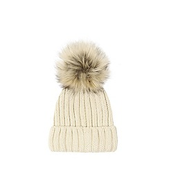 Warehouse - Faux Fur Pom Pom Ribbed Hat