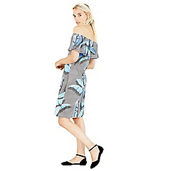 Warehouse - Palm Print Bardot Dress