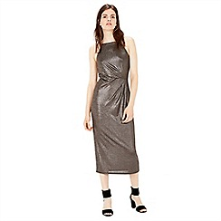 Warehouse - Tuck Detail Metallic Midi