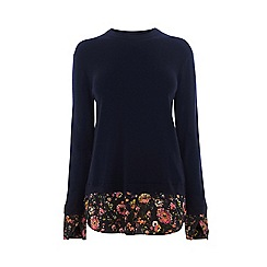 Warehouse - Painted Floral Hybrid Jumper