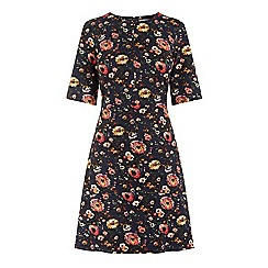 Warehouse - Painted Floral Ponte Dress