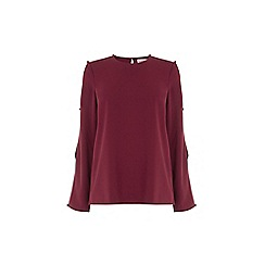 Warehouse - Diamante Button Sleeve Top