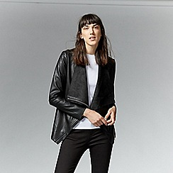 Warehouse - Faux Leather Cowl Drape Jacket