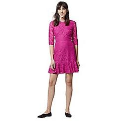 Warehouse - Lace peplum sleeve dress