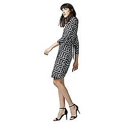 Warehouse - Chevron print wrap dress