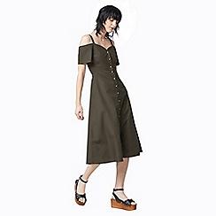 Warehouse - Button through cotton dress