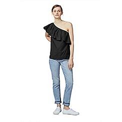 Warehouse - Cotton ruffle shoulder top