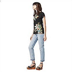 Warehouse - Tropical print woven front tee