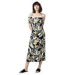 Warehouse - Tropical print bardot midi dress