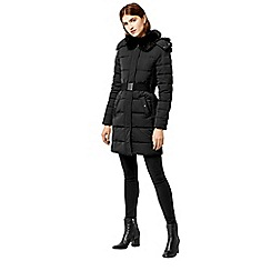 Warehouse - Long panel belted wadded coat