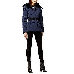 Warehouse - Short panel belted wadded coat