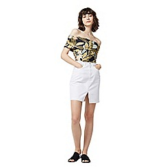 Warehouse - Tropical print deep bardot top