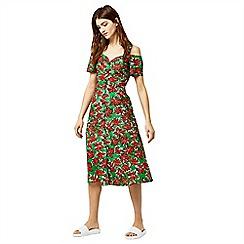 Warehouse - Woodblock daisy swing dress