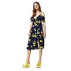 Warehouse - Delia flower frill wrap dress