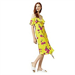 Warehouse - Delia flower frill wrap dress
