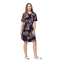Warehouse - Graphic palm print dress