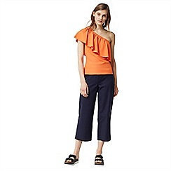 Warehouse - One shoulder crepe frill top