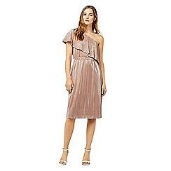 Warehouse - Foil plisse one shoulder dress