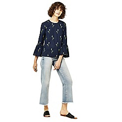 Warehouse - Iris embroidered top