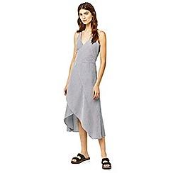 Warehouse - Stripe ruffle midi dress